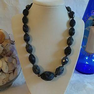 Vintage Blue Glass Beaded Necklace EUC